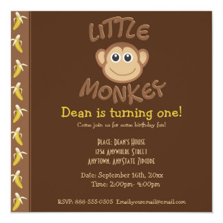 Little Monkey 13 Cm X 13 Cm Square Invitation Card