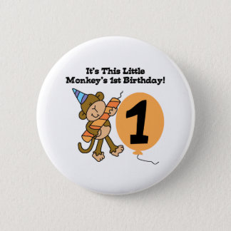 Little Monkey 1st Birthday 6 Cm Round Badge