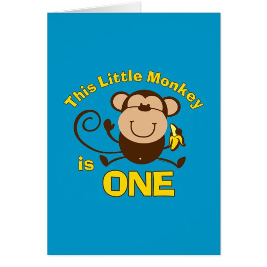 Little Monkey 1st Birthday Boy Card