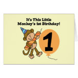 Little Monkey 1st Birthday Tshirts and Gifts Greeting Card