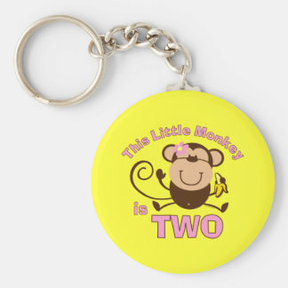 Little Monkey 2nd Birthday Girl Keychain
