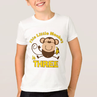 Little Monkey 3rd Birthday Boy T-Shirt