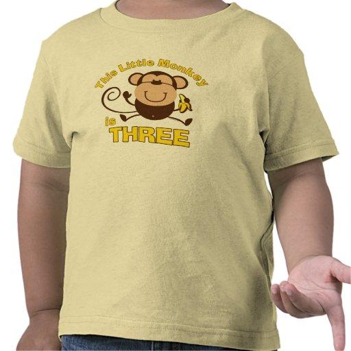Little Monkey 3rd Birthday Boy T Shirt