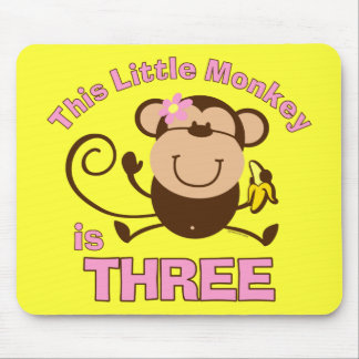 Little Monkey 3rd Birthday Girl Mouse Pads