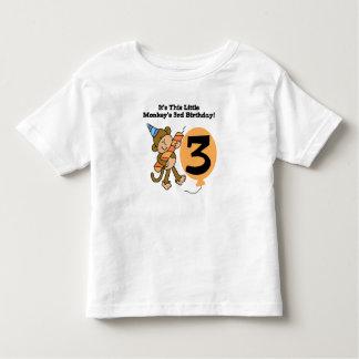 Little Monkey 3rd Birthday Toddler T-Shirt