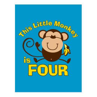 Little Monkey 4th Birthday Boy Post Card