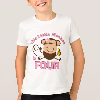 Little Monkey 4th Birthday Girl T-Shirt