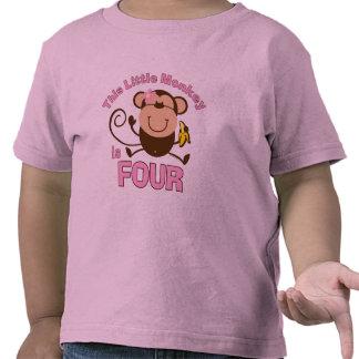 Little Monkey 4th Birthday Girl Tees