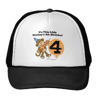 Little Monkey 4th Birthday Tshirts and Gifts Cap