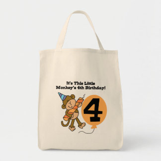 Little Monkey 4th Birthday Tshirts and Gifts Grocery Tote Bag