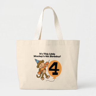 Little Monkey 4th Birthday Tshirts and Gifts Jumbo Tote Bag