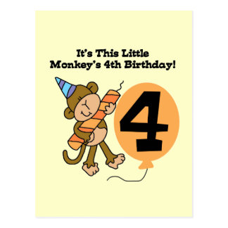 Little Monkey 4th Birthday Tshirts and Gifts Postcard