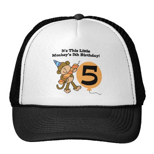Little Monkey 5th Birthday Tshirts and Gifts Cap