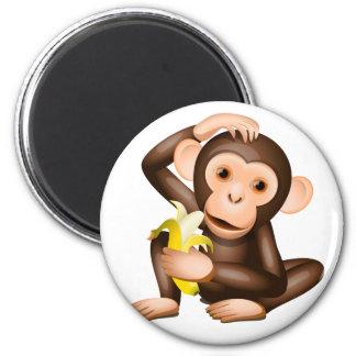 Little monkey 6 cm round magnet