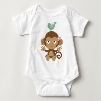 Little Monkey and Bird Baby Bodysuit