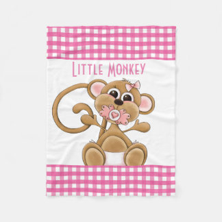 Little monkey baby girl fleece blanket