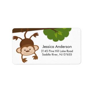 Little Monkey Baby Shower address Label