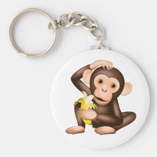 Little monkey basic round button key ring