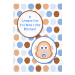 Little Monkey Blue and Brown  Dots Boy Baby Shower Custom Invitation