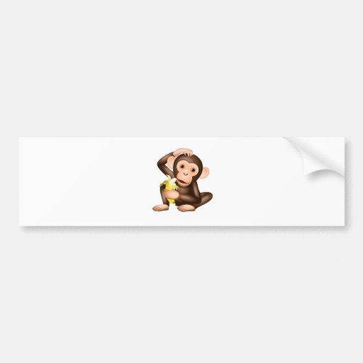 Little monkey bumper sticker