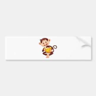 Little monkey eating banana bumper sticker