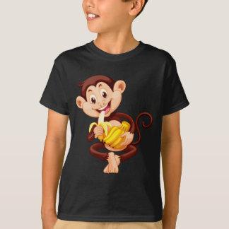 Little monkey eating banana shirt