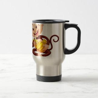 Little monkey eating banana stainless steel travel mug