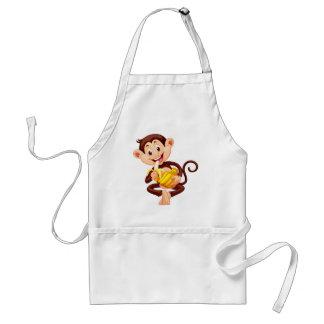 Little monkey eating banana standard apron