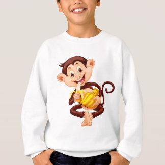 Little monkey eating banana tshirt