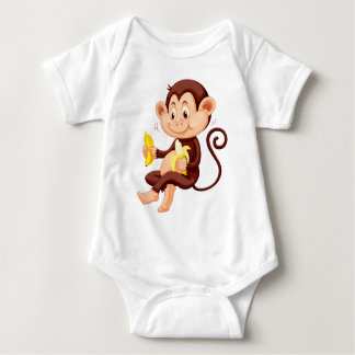 Little monkey eating bananas baby bodysuit