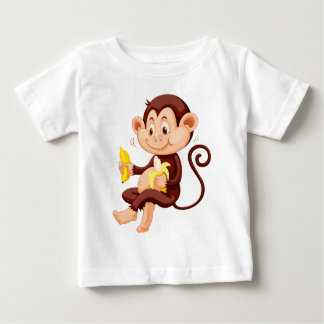 Little monkey eating bananas baby T-Shirt