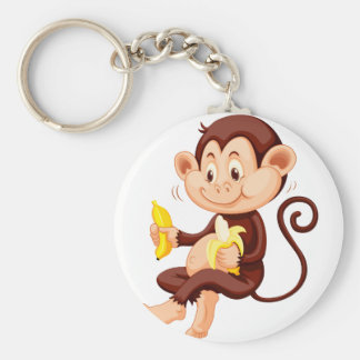 Little monkey eating bananas basic round button key ring