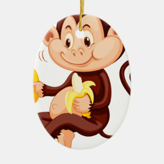Little monkey eating bananas ceramic oval decoration