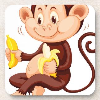 Little monkey eating bananas drink coasters