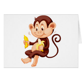 Little monkey eating bananas greeting card