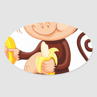 Little monkey eating bananas oval sticker