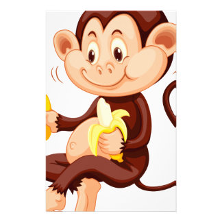 Little monkey eating bananas personalized stationery