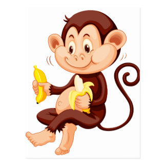 Little monkey eating bananas postcard