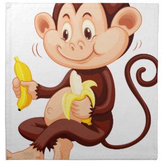 Little monkey eating bananas printed napkins