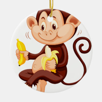 Little monkey eating bananas round ceramic decoration