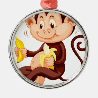 Little monkey eating bananas Silver-Colored round decoration