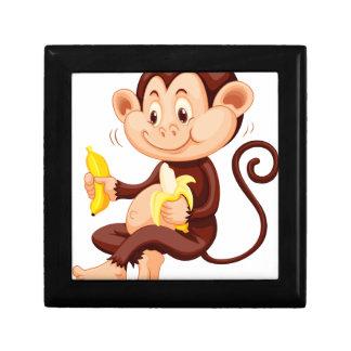 Little monkey eating bananas small square gift box