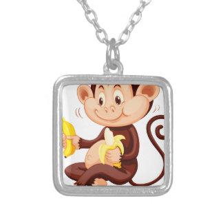 Little monkey eating bananas square pendant necklace