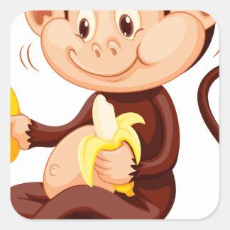 Little monkey eating bananas square sticker