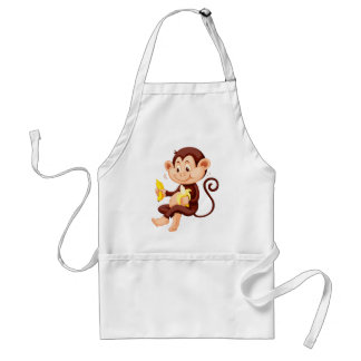 Little monkey eating bananas standard apron
