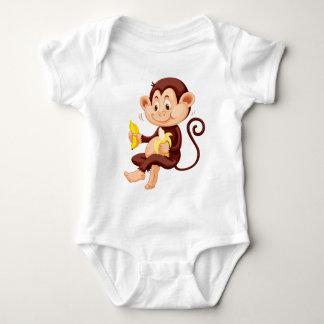 Little monkey eating bananas tee shirt