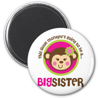 Little Monkey Going To Be A Big Sister 6 Cm Round Magnet