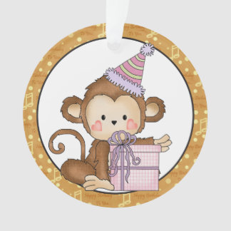 Little Monkey Happy Birthday Ornament