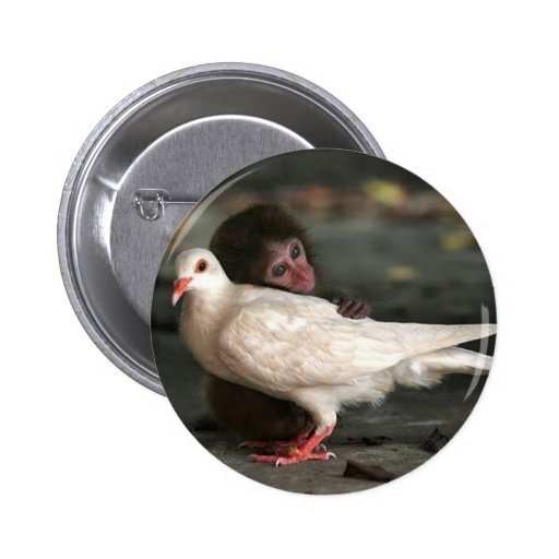 Little Monkey Hugging Bird Button