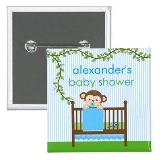 Little Monkey in a Crib Boy Baby Shower Button